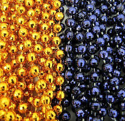 Orange Mardi Gras Beads (2 Dozen Mardi Gras Beads ORANGE/NAVY BLUE Parade 33