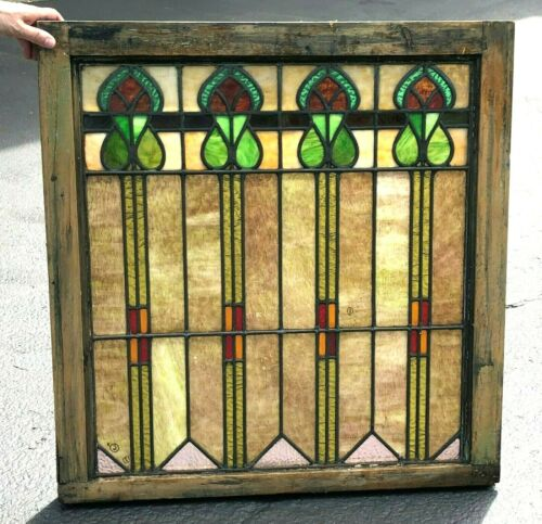 6 ANTIQUE AMERICAN STAINED GLASS WINDOWS Arts & Crafts / Art Nouveau