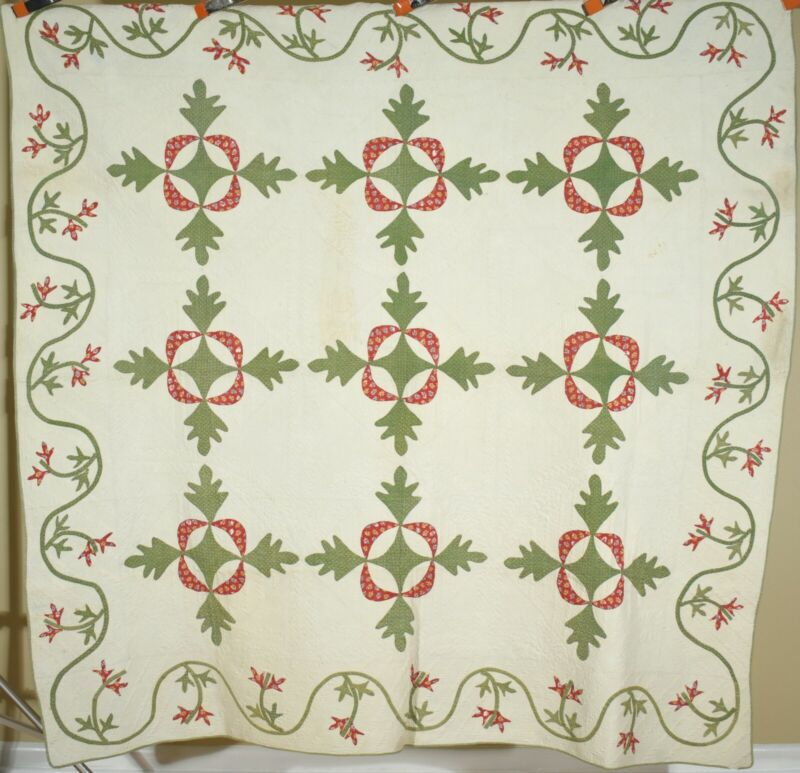EARLY, WELL QUILTED Vintage Red & Green Virginia Reel Antique Quilt c. 1830!