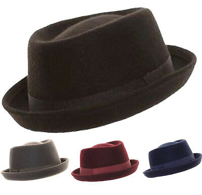 NEU HERREN Up Brim PORKPIE Hat Hut Hüte - Porkpie Hut