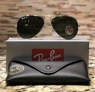 Ray-Ban Aviator Polarized Sunglasses RB3025 001/58 58mm Gold Frame/Green Lens!!