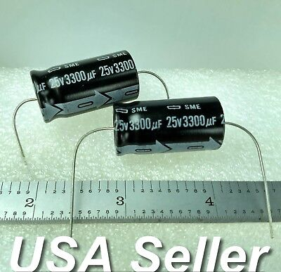 Lot Of 2 3300uf 25v Nippon Chemi-con Sme Japan Axial Capacitors - Usa Shipping