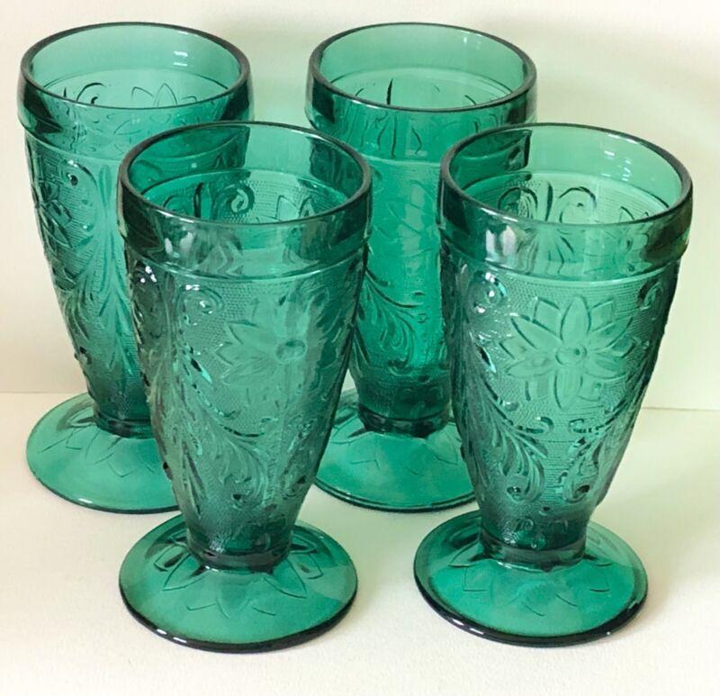 Tiara Indiana Glass Spruce Green Sandwich Pattern BEVERAGE DRINK GLASSES SET X4
