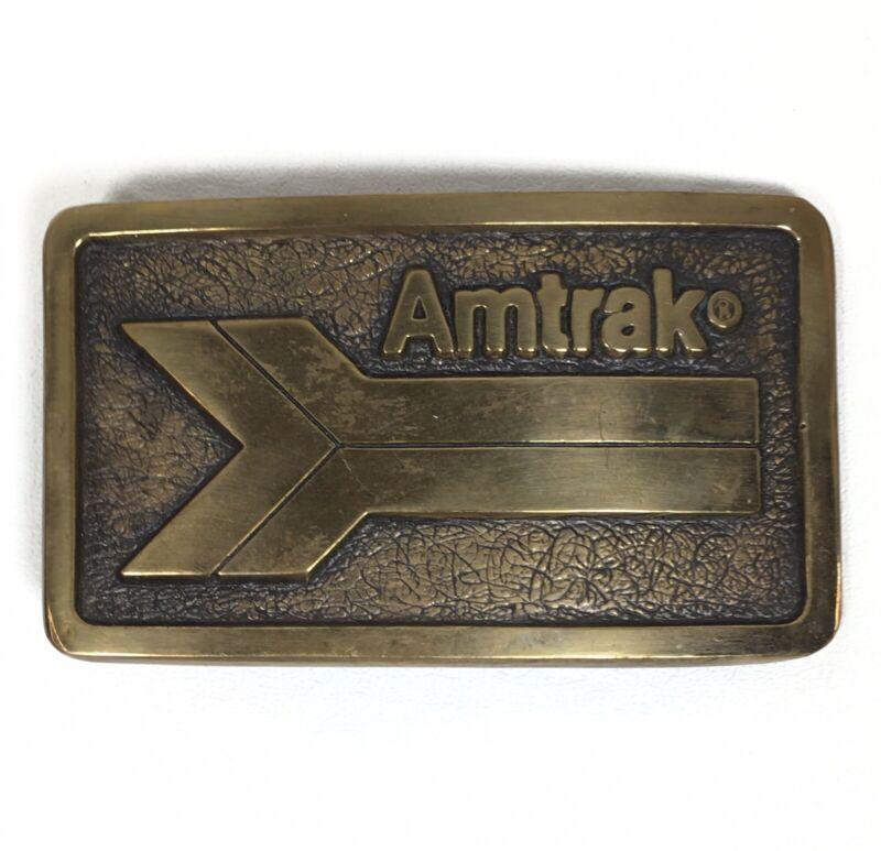 Vintage AMTRAK Railroad Train Car Solid Brass Belt BUCKLE Heavy, made in USA