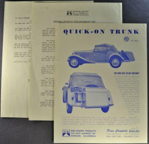 1951 1952 1953 MG TD Trunk Accessory Brochure Sheet +Letter Excellent Original