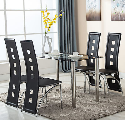 Black 5 Piece 4 Glass Set Leather Chairs Dining Table Kitchen Room Furniture