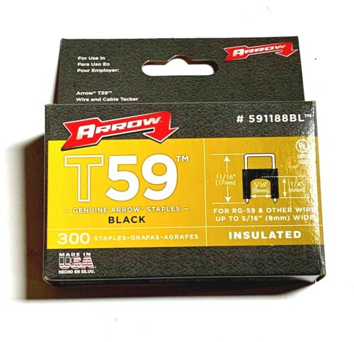 "Arrow T59 1/4"" x 5/16"" Insulated Staples Black 300 Pack USA Made 591188BL"