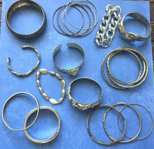 Lot of 20 Vintage Costume Silver Tone Bracelets