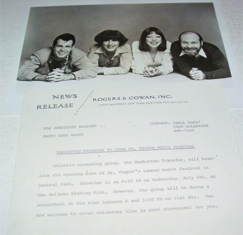 Manhattan Transfer Original Press Photo w/ paperwork Atlantic Records Vocal Jazz