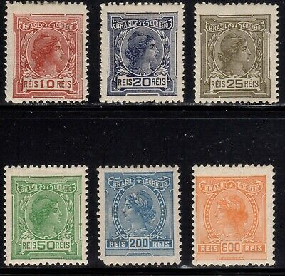 Brazil Scott 207//214 Mint Hinged Liberty Heads Issued 1918-1920 Some Faults