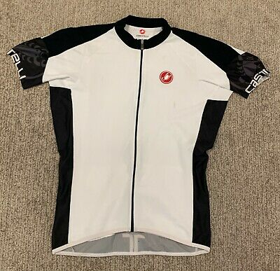 Castelli Made in USA Medium Team City Red White Cycling Jersey Full Zip