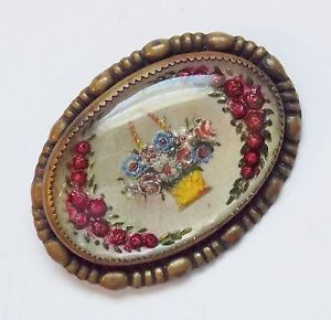 Victorian Reverse Painted Glass Intaglio Floral Brooch Pin   Lot  MA14330