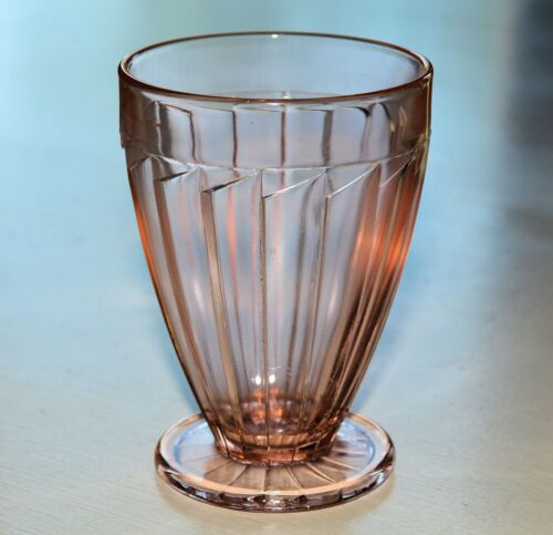 JEANNETTE SIERRA PINWHEEL 9oz FOOTED TUMBLER Depression Glass PINK (6 AVAILABLE)