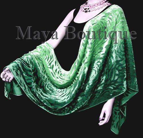 Maya+Matazaro+Hand+Dyed+Emerald+Green+Camellia+Shawl+Wrap+Scarf+Burnout+Velvet+