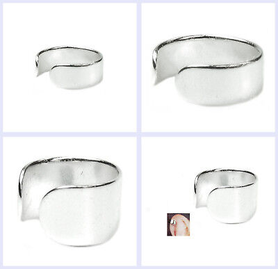 (925 Sterling Silver Round Plain Ring Clip-on Cuff Earrings / Ear Wrap)