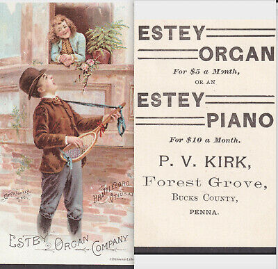 Forest Grove PA 1890 Estey Piano Organ Tennis Dude Serenade Victorian Trade Card