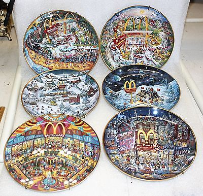 "6 Bill Bell Franklin Mint ""Golden"" McDonald's Ltd Edition Collector Plates"