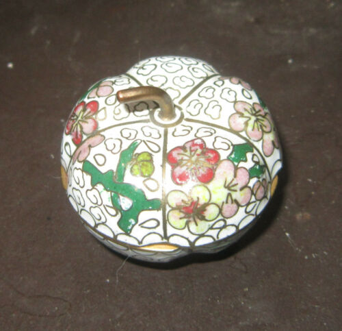Vintage Chinese miniature cloisonne pumpkin pill box - beautiful piece