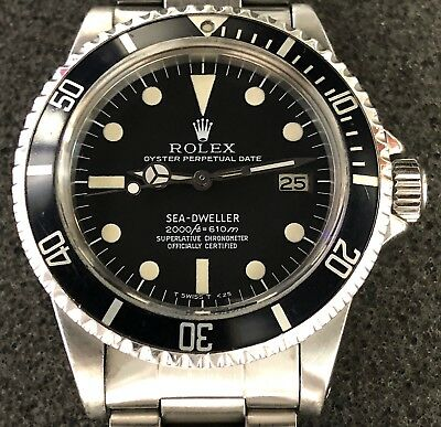 "VINTAGE ROLEX SEA DWELLER ""GREAT WHITE"" 1665 MATTE BLACK MKII RAIL DIAL W/PAPERS"