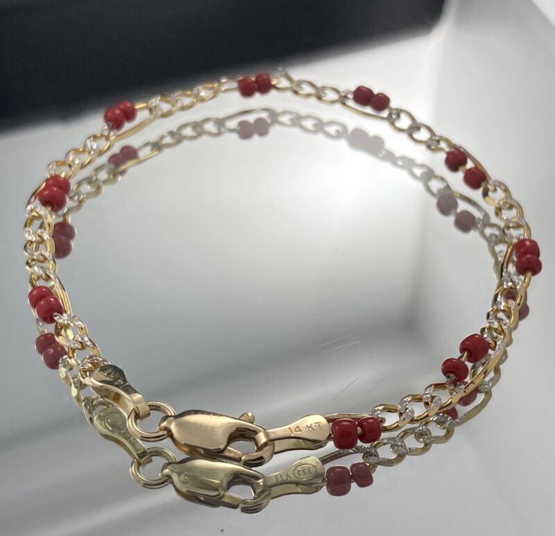 Evil Eye I.D. Baby Bracelet with Red Coral 14k Real Gold 26113