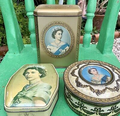Vintage Queen Elizabeth Tins X3