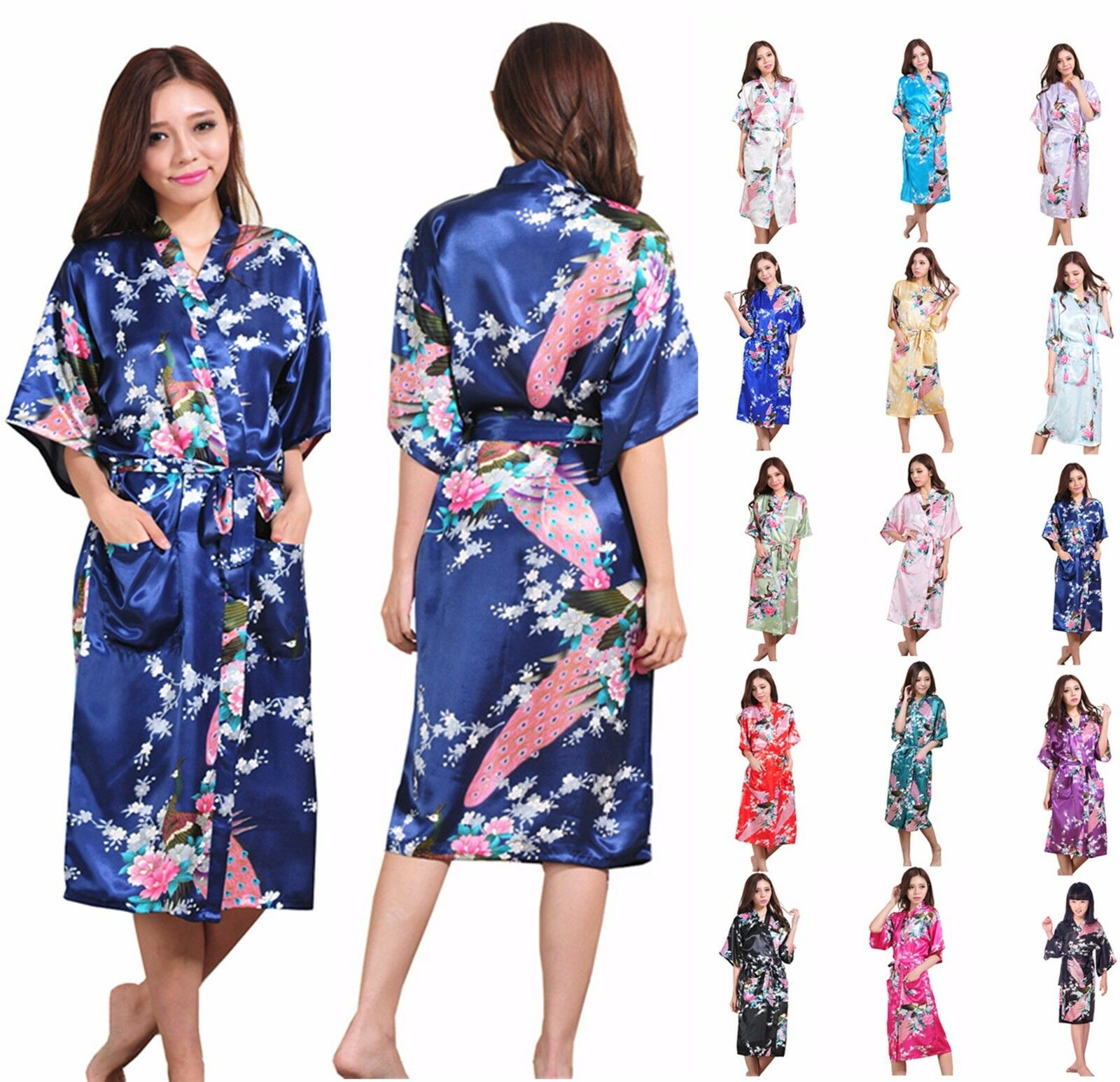 Silk Satin Long Robe Kimono Bridal Bridesmaid Dressing Gown ...