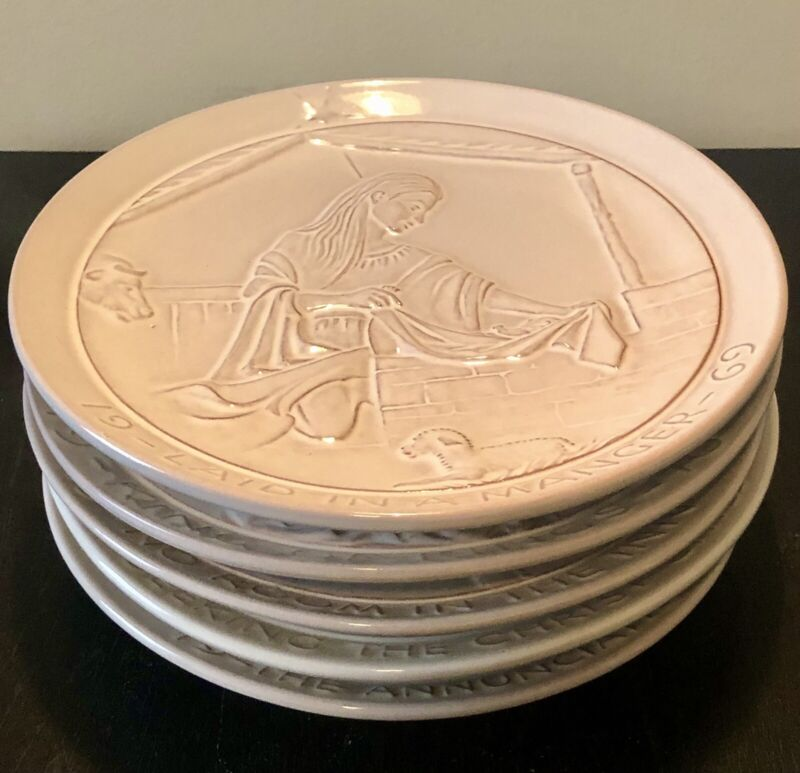 Set of Five Frankoma Pottery Christmas Plates 1969-1973