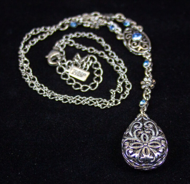 Vintage: 1928 Co Silver Tone Flower Filigree Necklace - w/ Blue Rhinestones