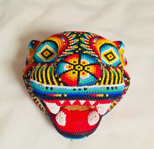 Huichol Carved Hand Beaded Jaguar Head Bright Bold Colors