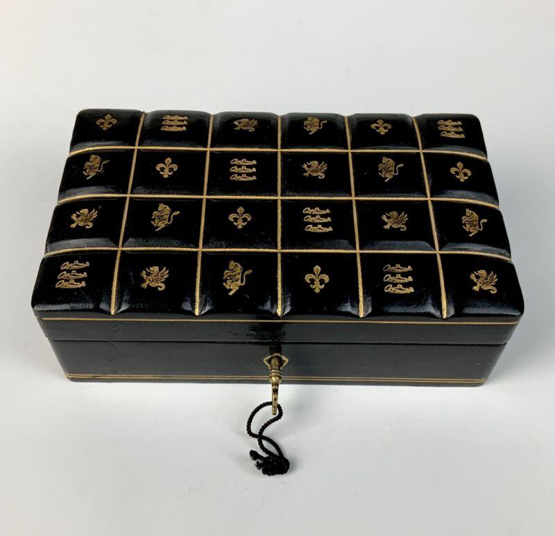 Antique Italian Black Leather Gilt Embossed Jewelry Box
