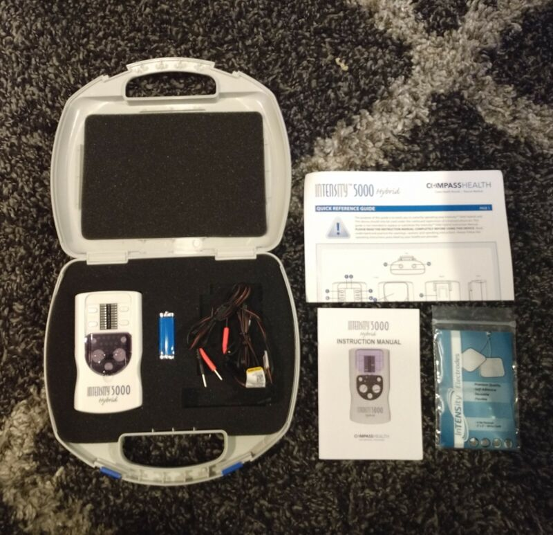 $95 INTENSITY 5000 Hybrid TENS Unit New with Case + FREE Electrodes BUNDLE