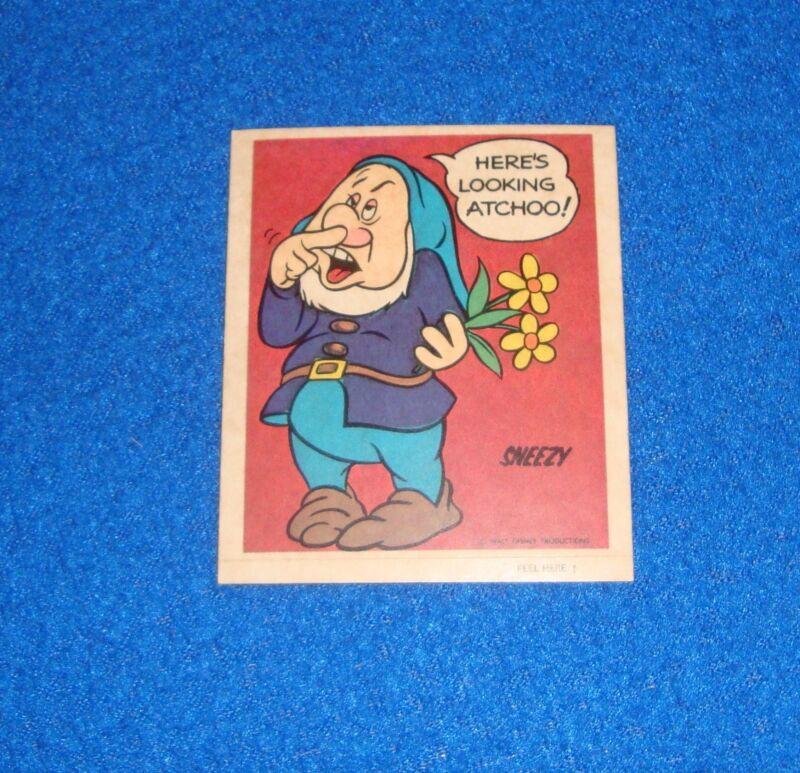 Vintage Disney Sneezy Sticker Unused