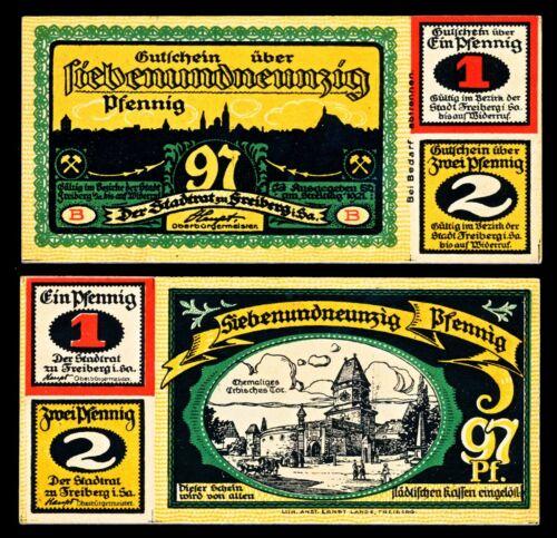 Freiberg Notgeld / 1921 /  1, 2 & 97 Pfg Note - UNC