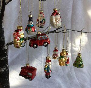 12 Vintage Style Glass Christmas Tree Decorations Retro Gisela Graham Santa Car