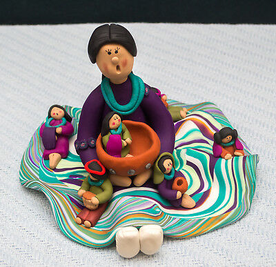 Made-in-the-USA One-of-a-Kind Southwest Sitting Storyteller Doll by Gwen Piña