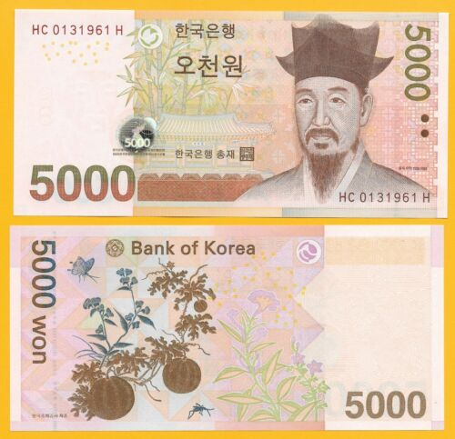 South Korea 5000 Won p-55 2006 UNC Banknote