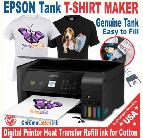 EPSON PRINTER SUPER TANK T-SHIRT MAKER COTTON INK + HEAT TRANSFER START Bundle