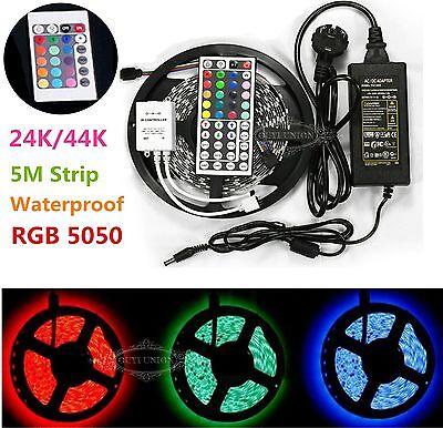 5M SMD RGB 5050 Waterproof Light Strip 300 LED+24/44 Key IR Remote+12V 5A power