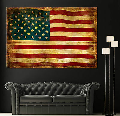 Vintage Giclee Canvas (Canvas Giclee Prints Art Vintage American Flag Photo Colorful Print Decor Red)