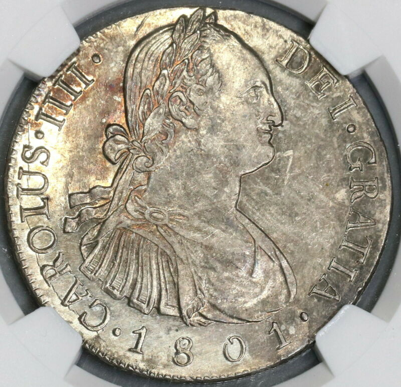 1801 NGC AU 58 Guatemala 8 Reales Spain Colony Silver Coin POP 2/1 (15112903D)