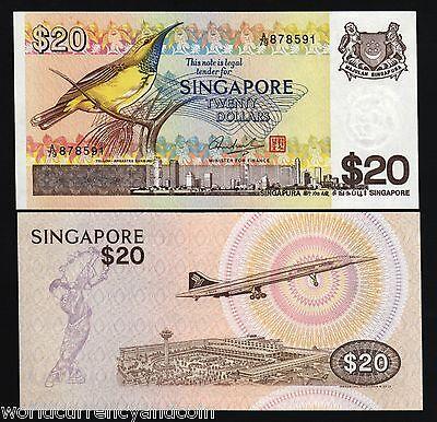 SINGAPORE 20 DOLLARS P12 1979 BIRD CONCORDE UNC MONEY BILL ASIAN ASIA BANK NOTE