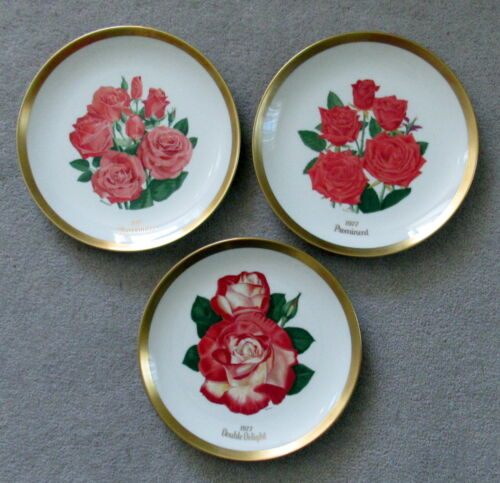 Set of 3 1977 All American Rose Society Plates Bookout Gorham China USA #2627