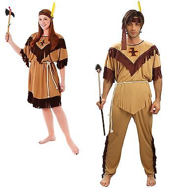 Red Indian Woman/Men Squaw Costume Pocahontas Ladies/Gents Fancy Dress One - Red Costumes For Men