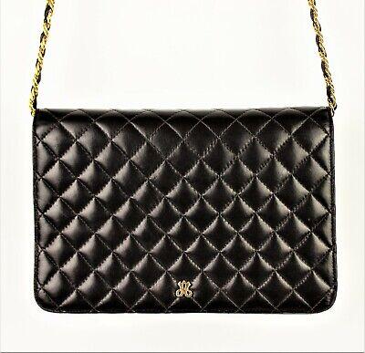 JAY HERBERT Vintage Quilted Black Leather Handbag Purse Shoulderbag Chain Strap