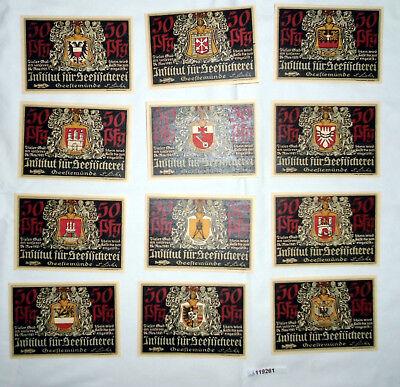 12 Banknoten Notgeld Geestemünde Institut für Seefischerei 1921 (119261)