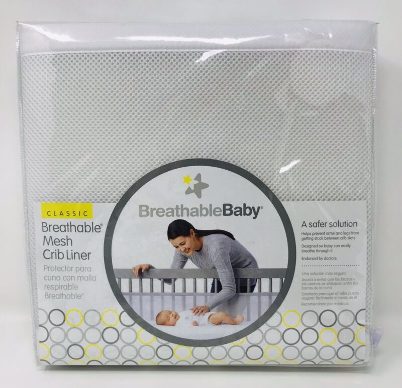 Breathable Baby Mesh Crib Bed Liner Bumper Fits Most Cribs White New