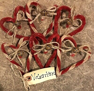 One-Half Dozen Red & White Twisted Chenille *Valentine* Hearts