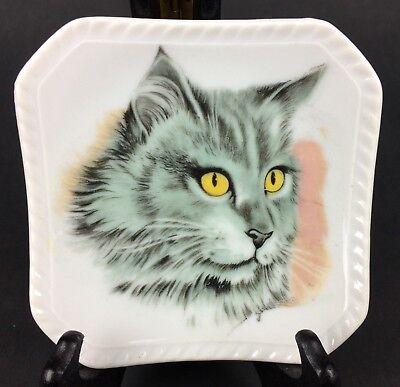 Vintage Chadwick Miller Japan Small Porcelain Cat Plate / Trinket Dish