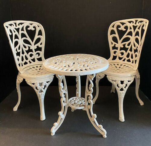 Vintage Cast Iron Table & Chairs For Large Dolls - 3 Piece - WHITE! - 11 lbs!