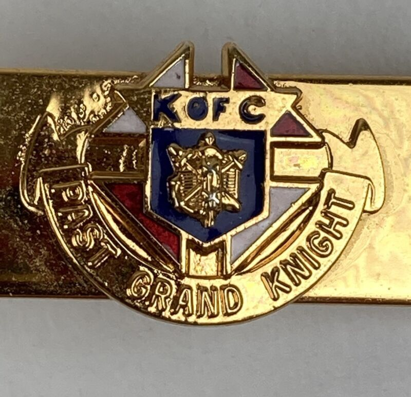 Vintage Knights of Columbus (K of C) Past Grand Knight Tie Clasp Gold Clip